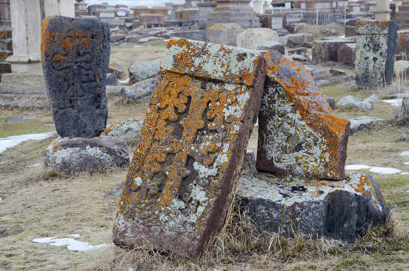 Stone crosses (khachkar) with traditional ornament, Noratus,Armenia stock images