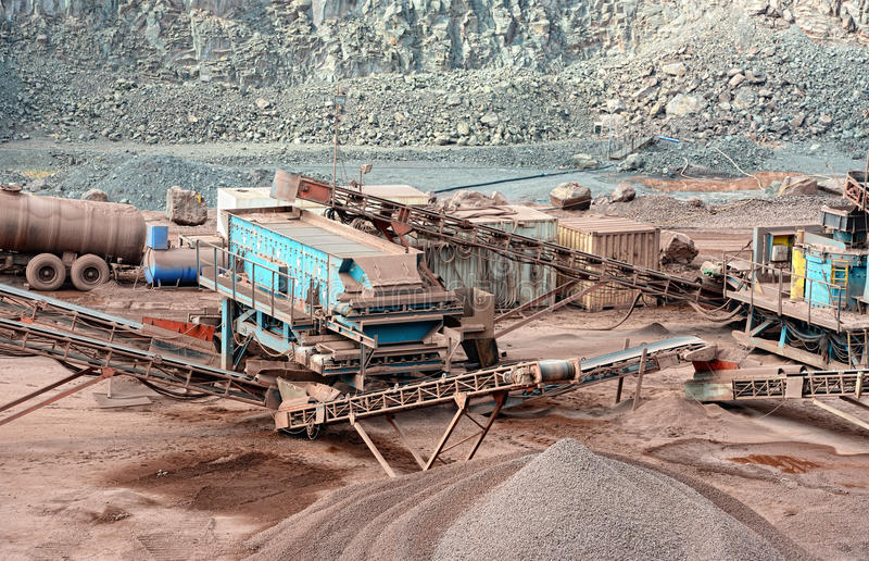 Stone crusher in a quarry. mining industry royalty free stock images