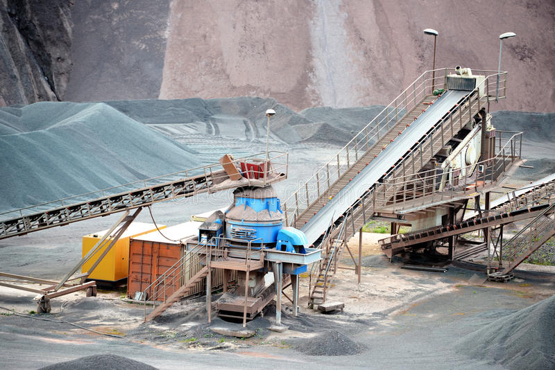 Stone crusher in surface mine. hdr image stock photo