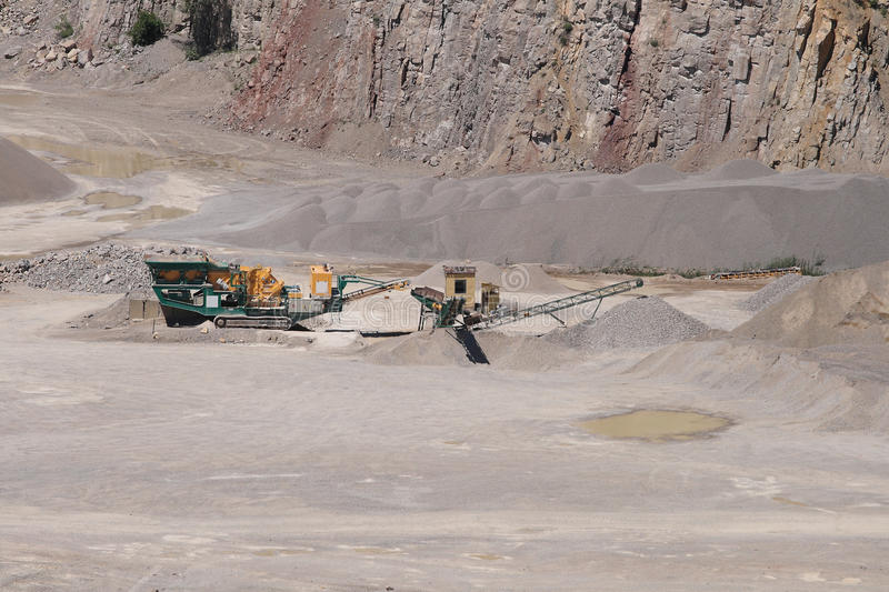 Stone crusher in a surface mine. stock image