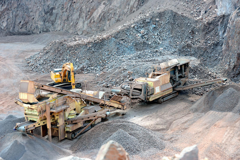 Stone crusher in a surface mine royalty free stock photos