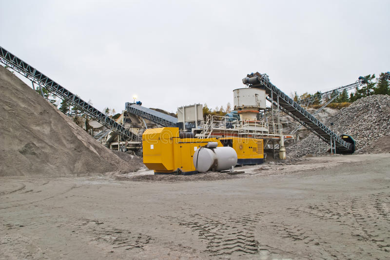 Stone crushing plant at brekke quarries plant 1. Stone crushing plant which crushes the stone to shingle, gravel and fine sand and becomes transported by stock photo
