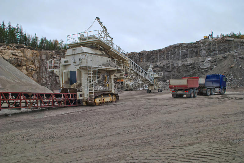 Stone crushing plant at brekke quarries plant 2. Stone crushing plant which crushes the stone to shingle, gravel and fine sand and becomes transported by stock photos