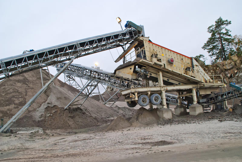 Stone crushing plant at brekke quarries plant 3. Stone crushing plant which crushes the stone to shingle, gravel and fine sand and becomes transported by stock photo