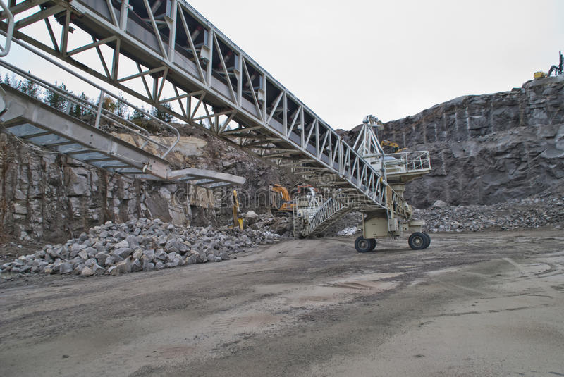 Stone crushing plant at brekke quarries plant 6. Stone crushing plant which crushes the stone to shingle, gravel and fine sand and becomes transported by royalty free stock photography