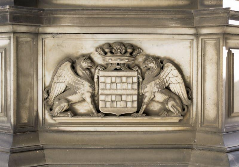 Stone Decoration (Genoa City Symbol). Stone Decoration- Genoa symbol. Taken in Genova, Italy. If needed I can provide tiff file royalty free stock image