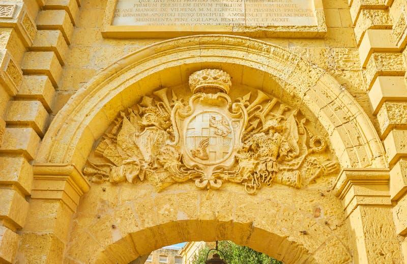 The stone Coat of Arms in Mdina, Malta. The stone decoration of Mdina Gates with Coat of Arms of Grand Master Antonio Manuel de Vilhena, Mdina, Malta royalty free stock photography