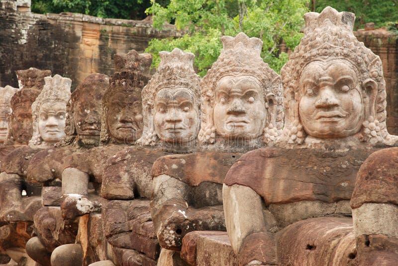 Demons of the causeway, Angkor Thom, Cambodia stock photo