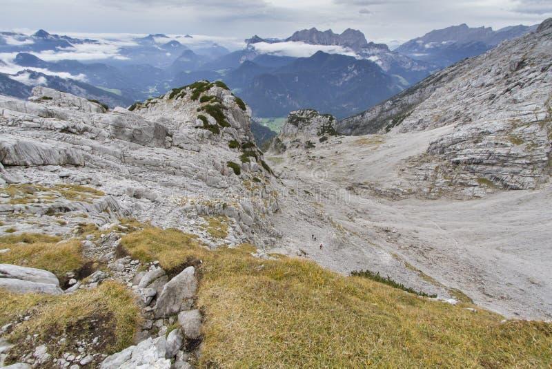 Stone desert in the austrian alps, Europe. Autumn hiking in the Austrian Alps, Europe, in the Loferer Steinberge mountains stock photo