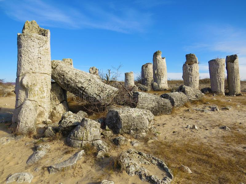 The Stone Desert or Stone Forest near Varna. Naturally formed column rocks. Fairytale like landscape. Bulgaria. The Stone Desert or Stone Forest near Varna stock photography