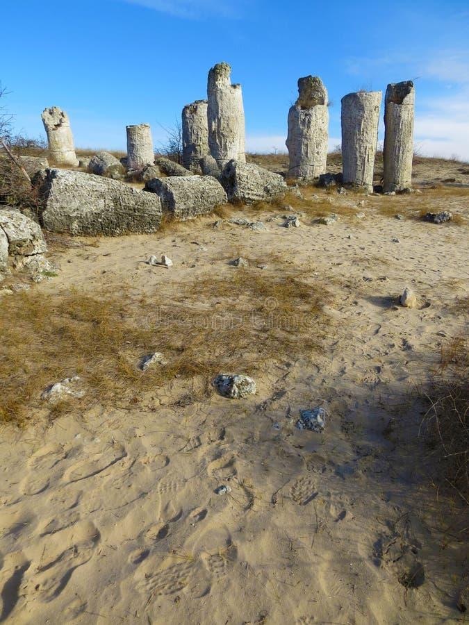 The Stone Desert or Stone Forest near Varna. Naturally formed column rocks. Fairytale like landscape. Bulgaria. The Stone Desert or Stone Forest near Varna stock photos