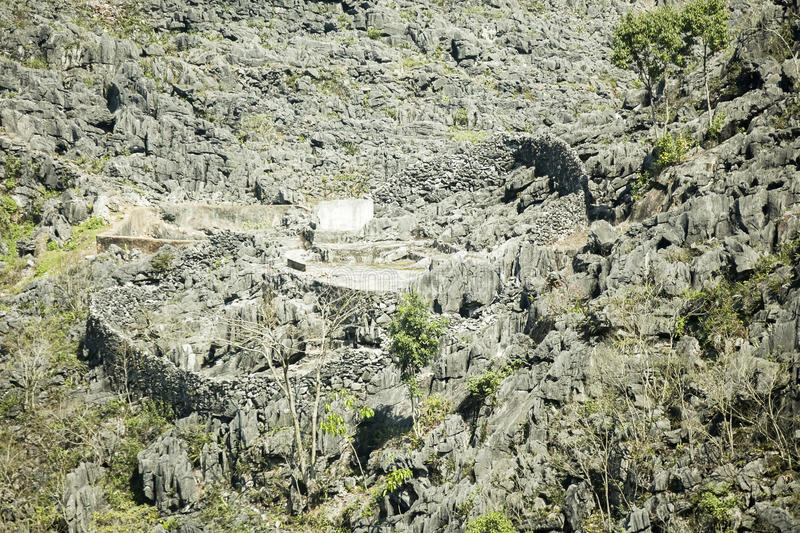 Stone. In Van . Van  Plateau (natural or painted Van) is a rocky plateau spread over four districts of Quan Ba, Yen Minh, Van, Meo Vac, Ha Giang province stock photography