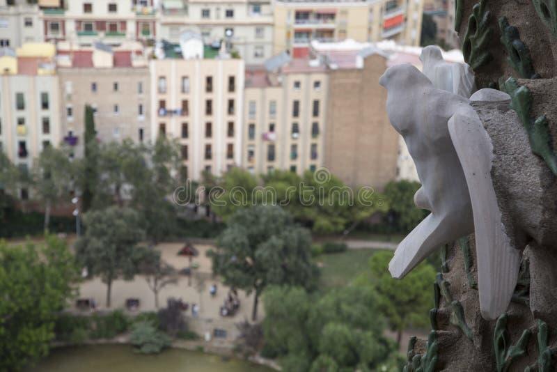 Stone Dove above the Placa de Guadi stock photo