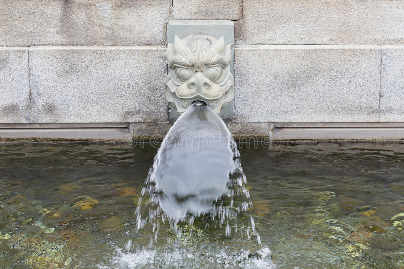 Stone Dragon Fountain Head Water Spout Stock Photo - Image: 64744048