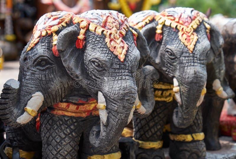 Stone elephants Promthep Cape on Phuket island stock image