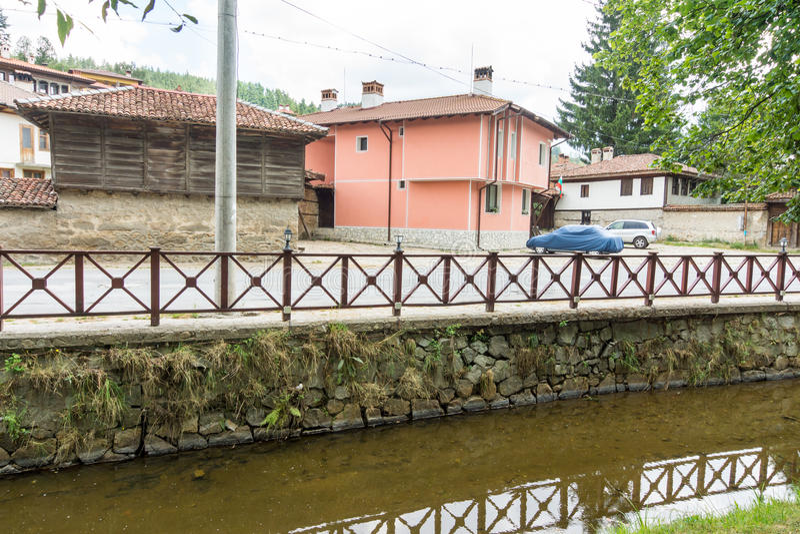 The stone embankment in Koprivshtitsa, Bulgaria royalty free stock photo
