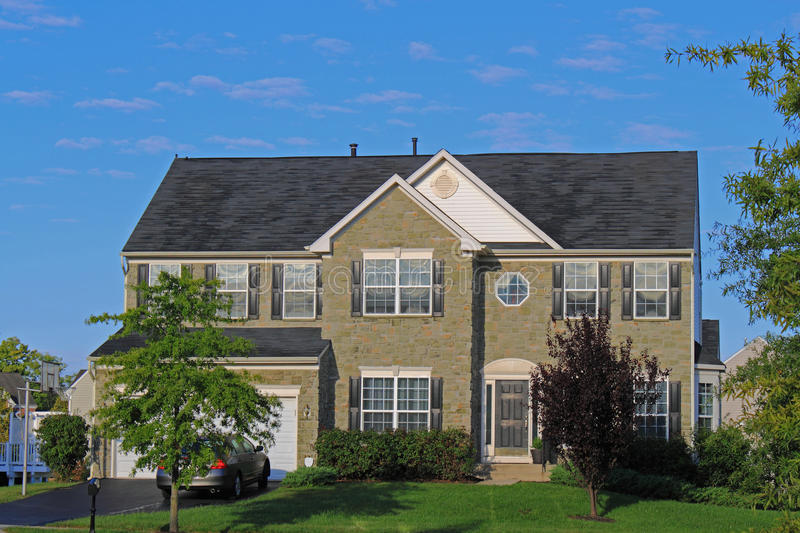 Stone faced suburban residential house stock photo image for Stone faced houses
