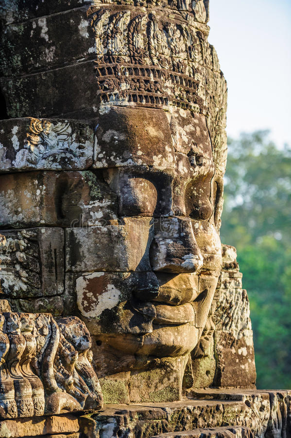 Stone faces at the bayon temple in siem reap,cambodia 11. Multiple stone faces at the bayon temple in siem reap,cambodia stock photography