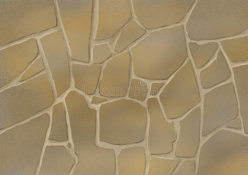 Stone facing of yellow sandstone. Background or texture in the form of stone cladding royalty free illustration