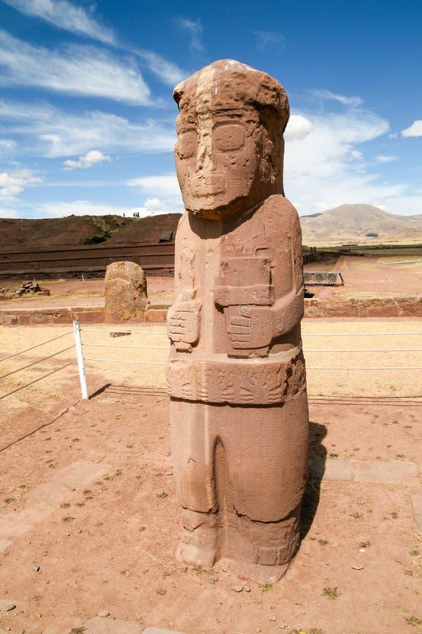 Stone figure in Tiwanaku Tiahuanaco, Bolivia royalty free stock images