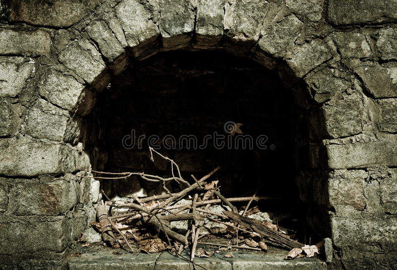 Stone Fire Pit. Close view of a stone fire place resting alone in a forest found in Friendship Park in Oakwood, Ohio near Dayton stock images