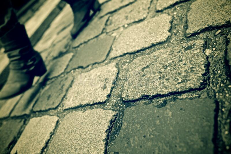 Stone floor view. Stone floor background in Paris, France royalty free stock image