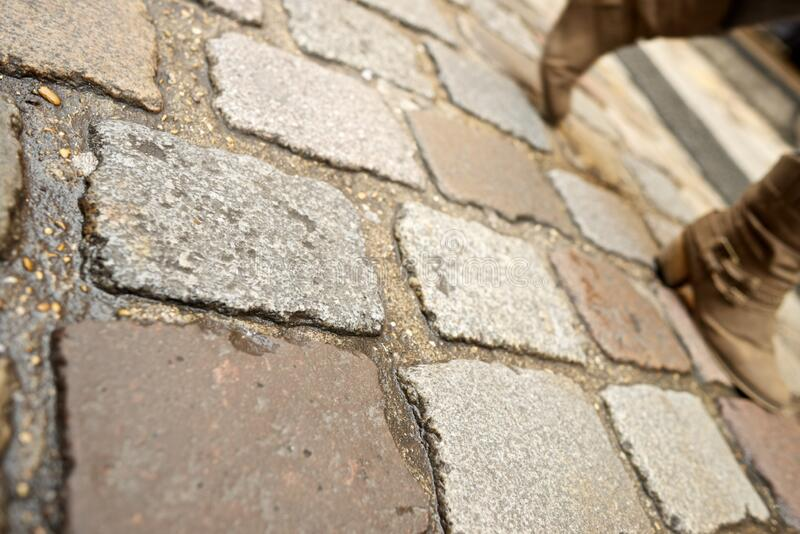 Stone floor view. Stone floor background in Paris, France stock photography
