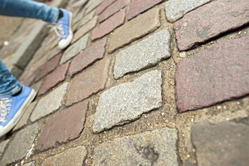 Stone floor view. Stone floor background in Paris, France royalty free stock photos