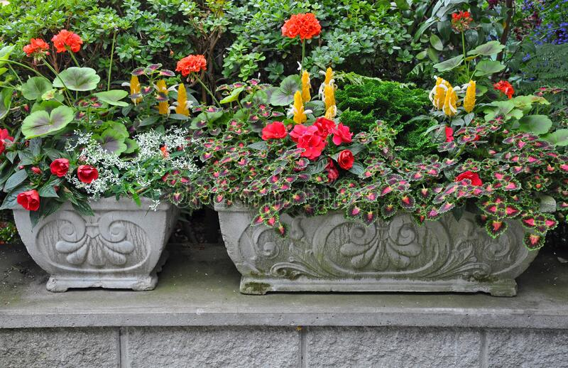 Stone flower planters stock photography