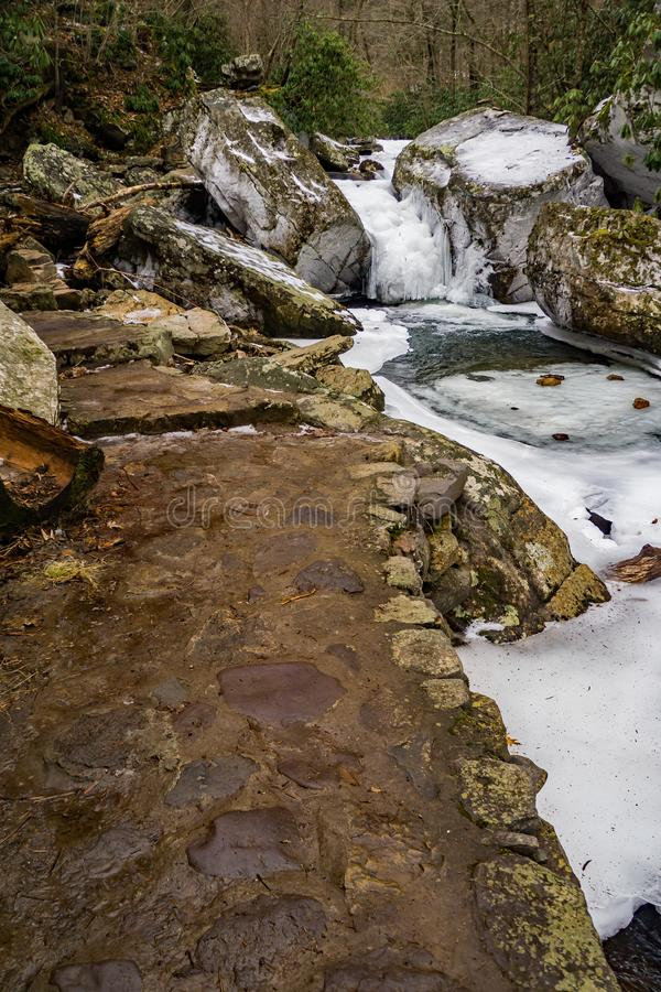 Stone Footpath by a Frozen Creek stock images