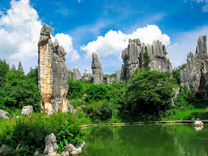 The stone forest scenic spot in kunming of China.  stock photos