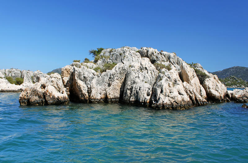 Stone formation near Kekova island. Turkey stock photography