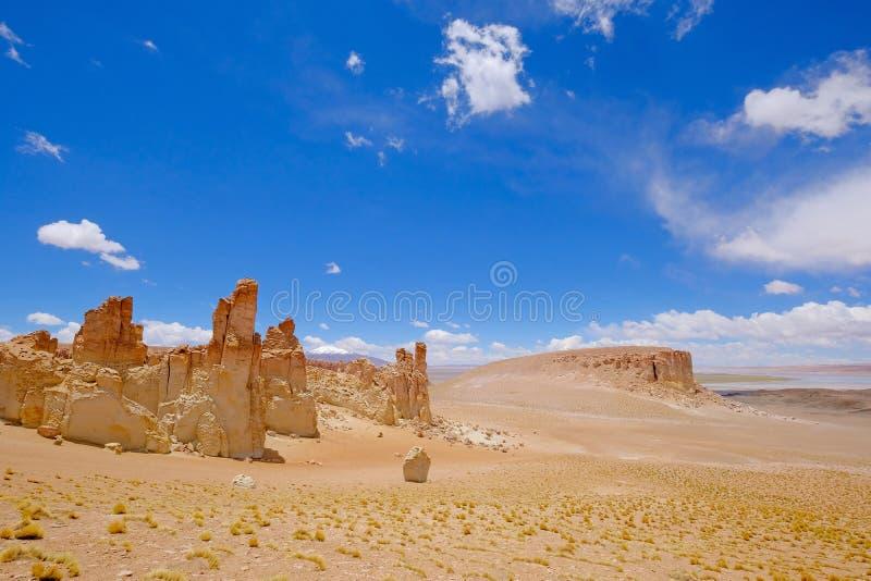 Stone formation Pacana Monks, Monjes De La Pacana, The Indian Stone, near Salar De Tara, Los Flamencos National Reserve. Atacama Desert, Chile, South America royalty free stock images