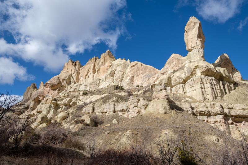 Stone formation in the Pigeon Valley of Cappadocia, Turkey stock image