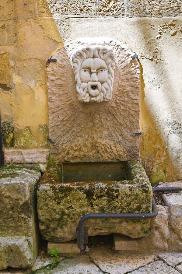 Stone fountain. Altamura. Puglia. Italy. Detail of a stone fountain. Altamura. Puglia. Italy stock image