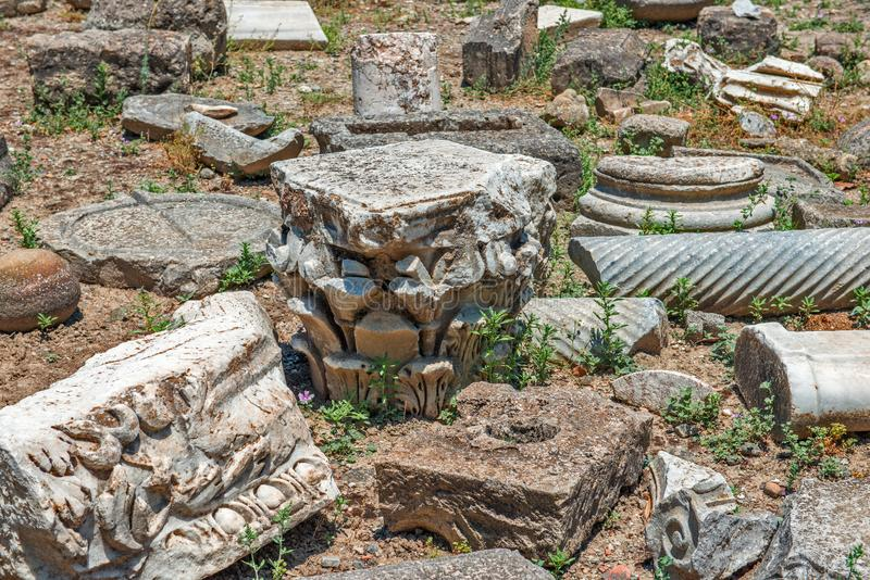 Stone fragments on Gortyna archeological site, Crete, Greece royalty free stock photo
