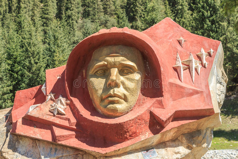 Stone Gagarin, Barskoon Gorge. Issyk Kul region, Kyrgyzstan stock photography