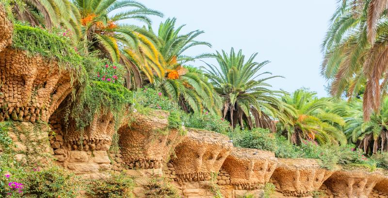 Stone gallery in the park Guell in Barcelona - Spain. stock photos