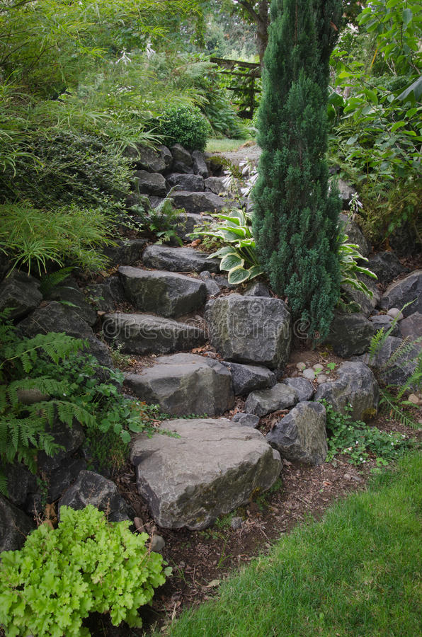 Stone Garden Stairs royalty free stock image