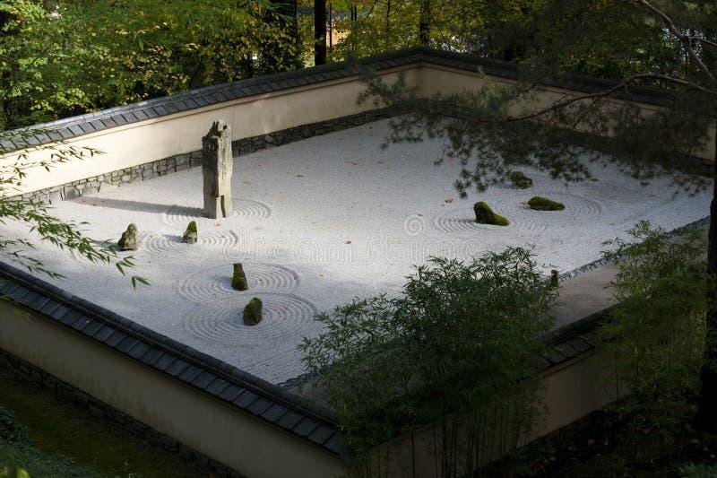 Stone garden, waves, Japanese garden. Stone garden shaped like waves in a japanese garden stock image