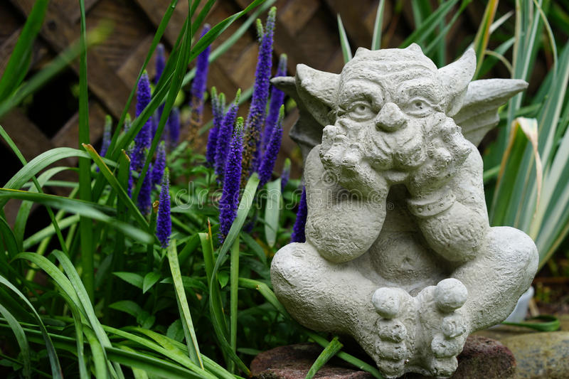 Download Stone Gargoyle In The Garden Stock Image   Image Of Perennial,  Thinking: 54693463