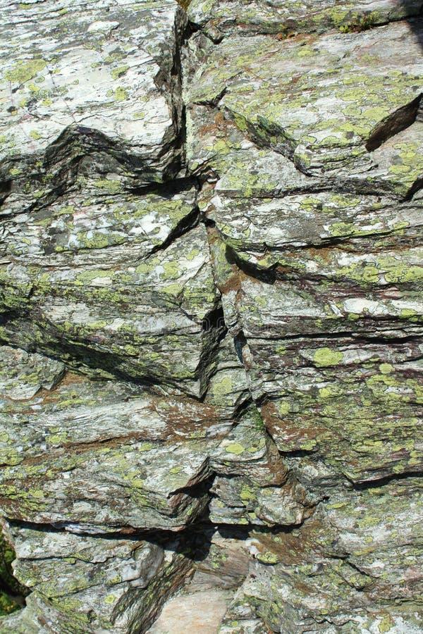 Stone granite chunks moss background royalty free stock photography