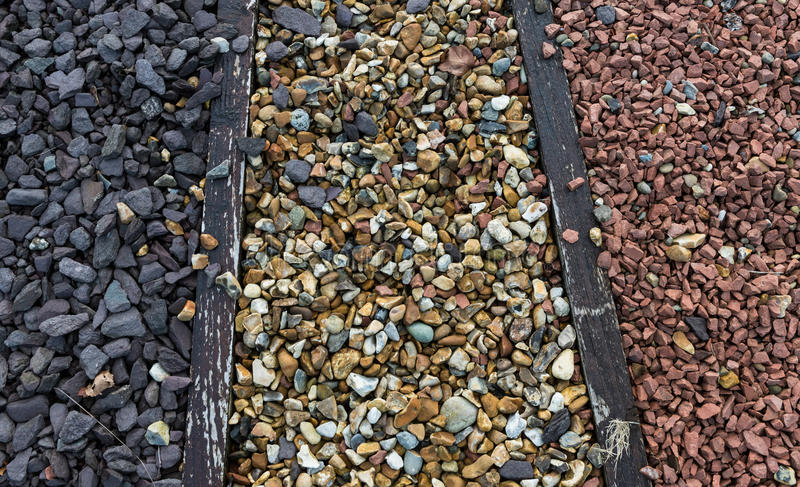 Stone and gravel pebbles. Close up on Various types of stone and gravel pebbles for garden landscaping royalty free stock images