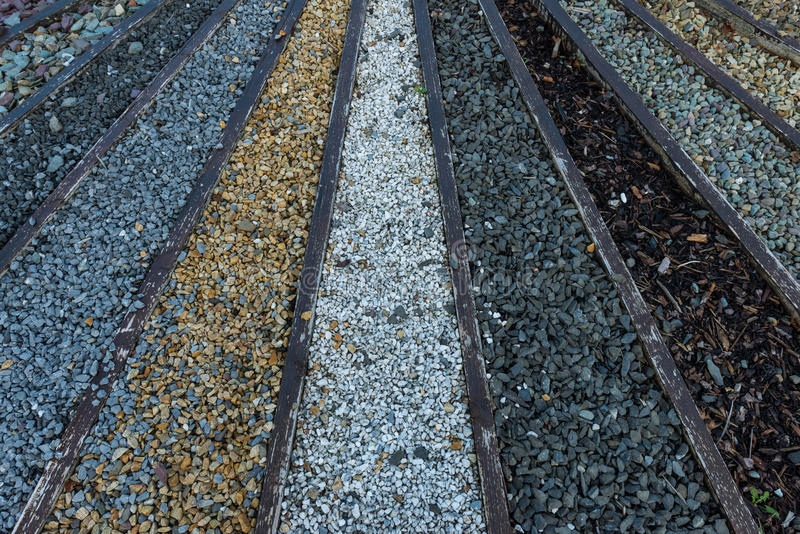 Stone and gravel pebbles. Various types of stone and gravel pebbles for garden landscaping royalty free stock images