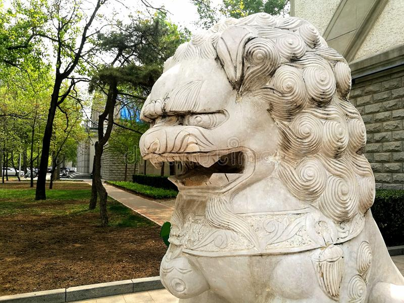 Stone Guardian Lion China. A stone guardian in the classic and iconic Chinese style. These are used to ward off evil spirits and bring good fortune to the royalty free stock photos