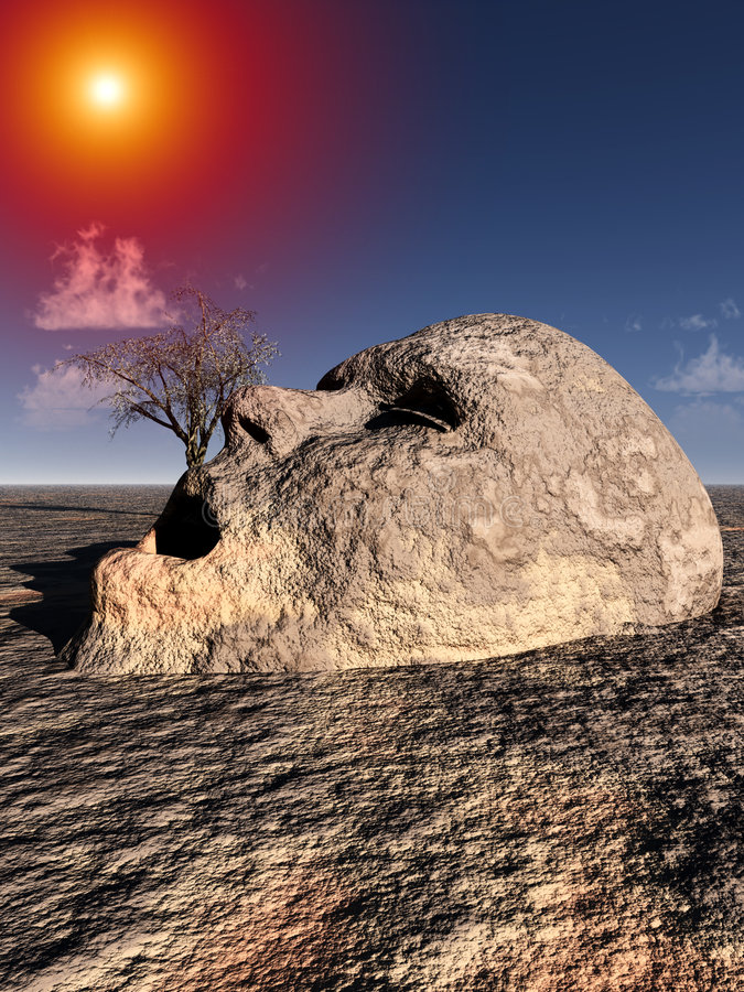 Stone Head 2. A conceptual image of a unhappy stone head coming out of the ground in a barren unfertile landscape vector illustration