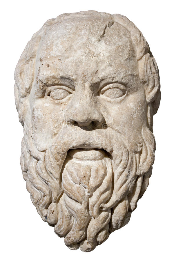 Stone head of the greek philosopher Socrates. Isolated on white with clipping path royalty free stock images