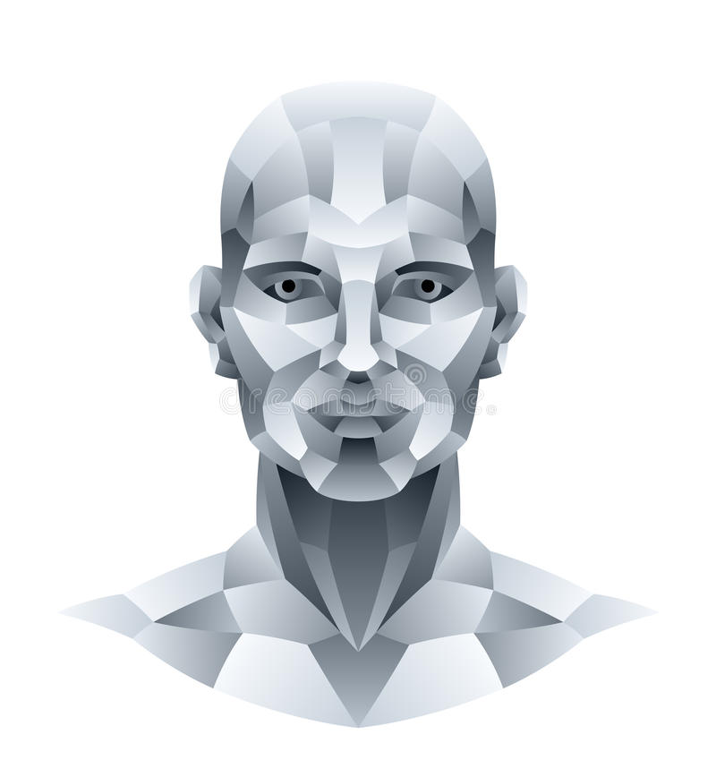 Download Stone head stock vector. Image of artificial, cyborg - 30391236