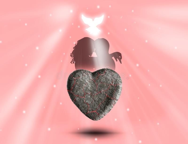 Stone heart, loving couple and bird/dove are on the pink background. There are white rays of light/sun. Happy Valentine`s Day. stock images