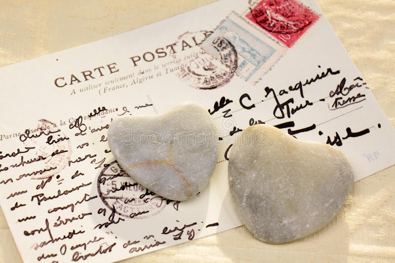 Download Stone hearts with postcard stock image. Image of proof - 24752497